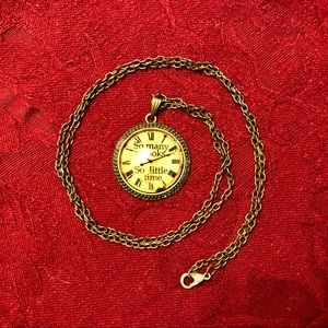 """""""So many books, so little time"""" necklace"""